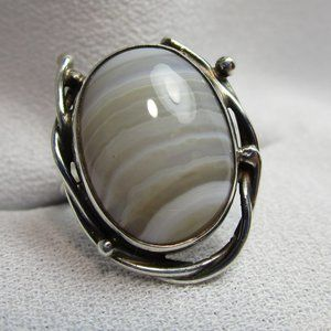 Vintage 1960's Banded Agate Sterling Silver Ring